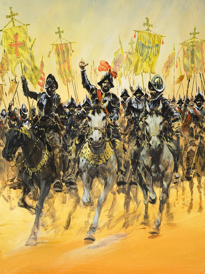 Painting of Spanish Conquistadors by Graham Coton